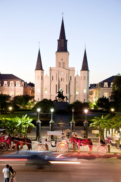 USA, Amerika, United States of America, Louisiana, New Orleans, Moon Walk, Jackson Square, St Louis Cathedral,