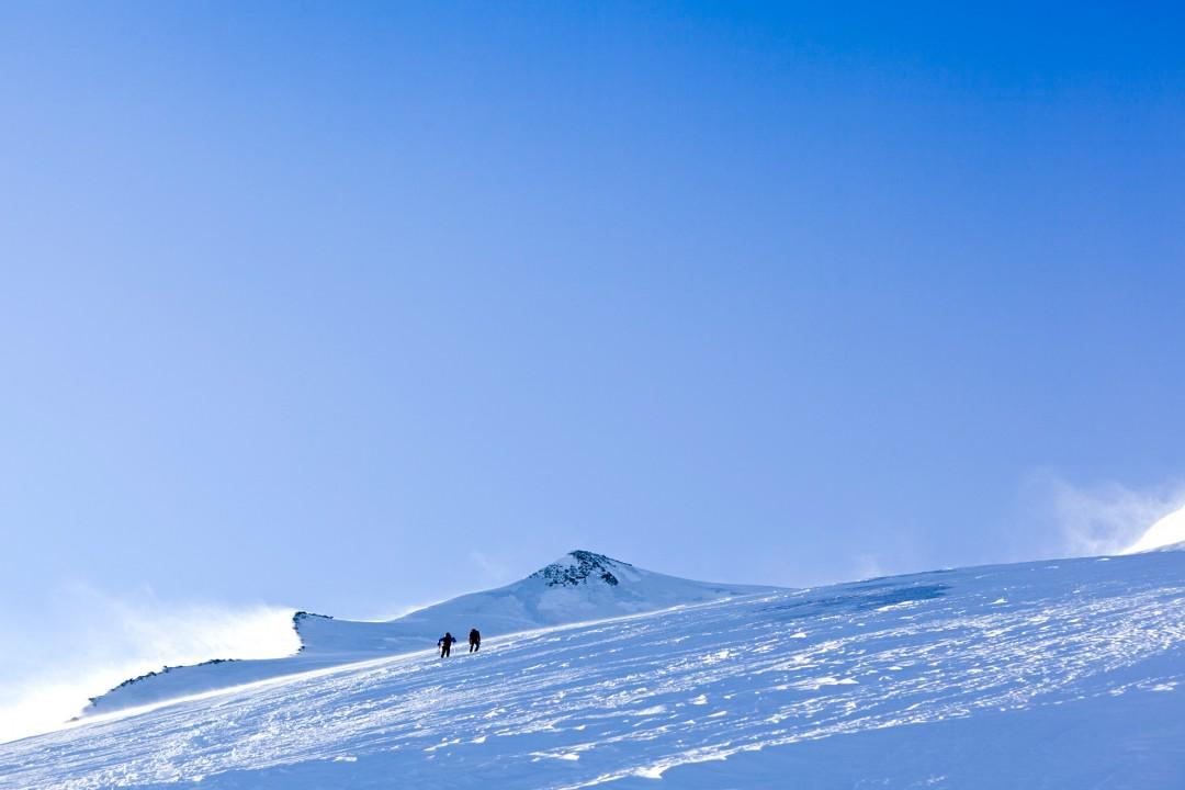Europa, Schweiz, Wallis, Sierre, Siders, Walliser Alpen, Val de Anniviers, Val de Zinal, Wanderung, wandern, Trekking, Huettenwanderung, Wanderung, Auf und Ab - Stieg  von der Huette , Cabane de Tracuit,  3256 meter,  ueber den Turtmanngletscher , er ist ein Talgletscher in den Walliser Alpen, im Kanton Wallis, auf das Bishorn, 4153 meter, Col de Tracuit, Auf einer Hoehe von 3256 m ü. M. am westlichen Gletscherrand an der Kante gegen das Val d'Anniviers steht die Cabane de Tracuit, eine Huette des Schweizer Alpenclubs SAC. Sie dient als Ausgangspunkt für die Besteigung des Bishorns sowie des Weisshorns. morgens, Seilschaft, Gruppe, gemeinsam, Sicherheit, Vorbereitung, Steigeisen, Eispickel, Gefahr vor Gletscherspalten, morgens, Sonnenaufgang, Anstrengung, wind,