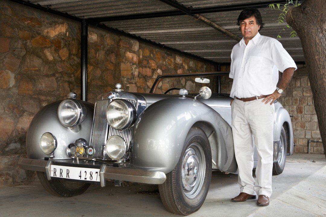 Indien, Republic of India, Rajasthan, Jaipur, Vikram Singh, Triumph 1947, Oldtimer, Vintage Cars, Sammler, Moebel Exporteur