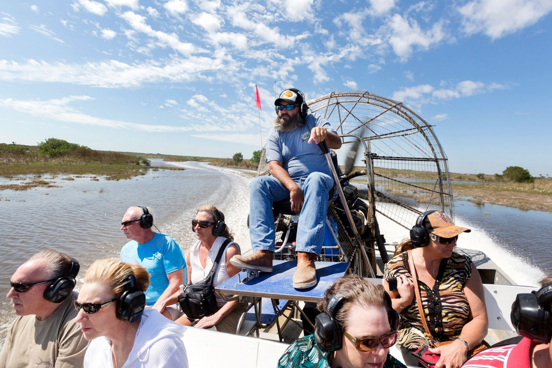 laif creative reise travel USA, Amerika, United States of America, Florida, Everglades Wooten´s Airboat Ride, captain JR, Big Cypress National Preserve, schnell laut