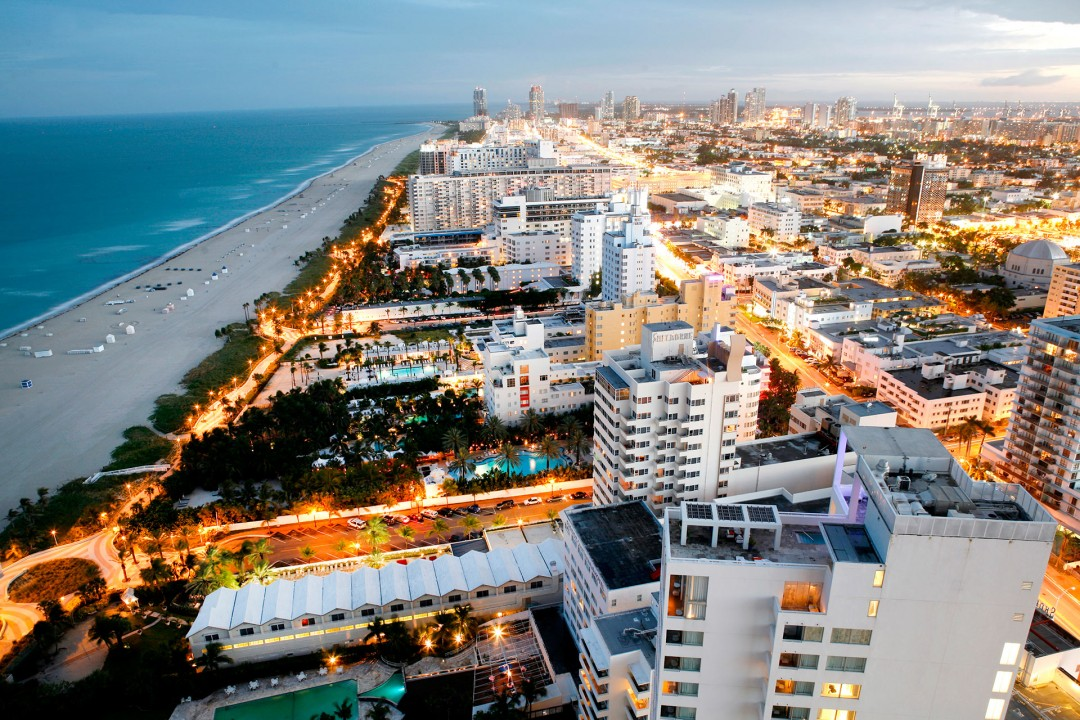 Usa, Florida, Miami South Beach, Art Deco District, Collins Ave, The Setai Hotel, Luxus, Blick über Southbeach und Downtown