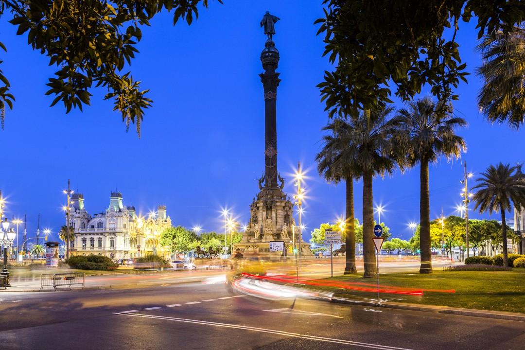 Europa Spanien Katalonien Barcelona Barri Gotic Rambla El Raval Placa del Portal Kolumbus Monumentam Hafen