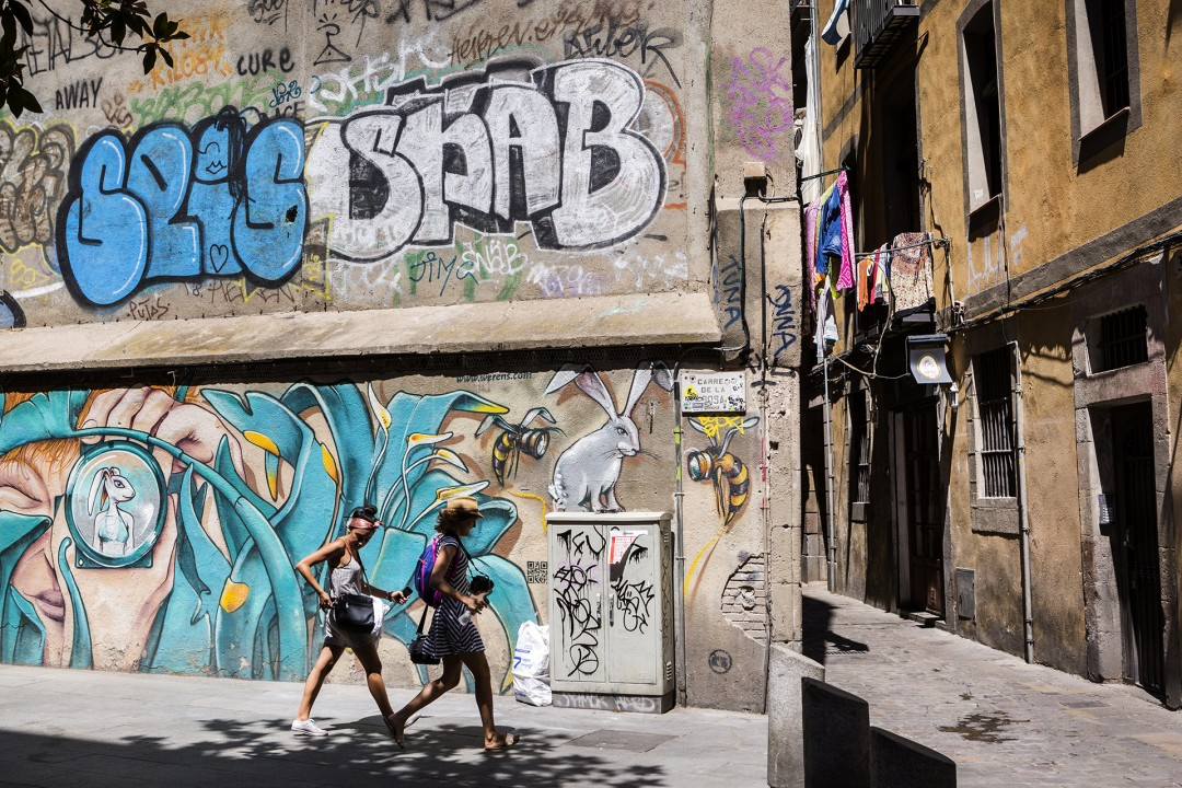 Europa Spanien Katalonien Barcelona Barri Gotic Gotisches Viertel Altstadt Gassen Grafitti