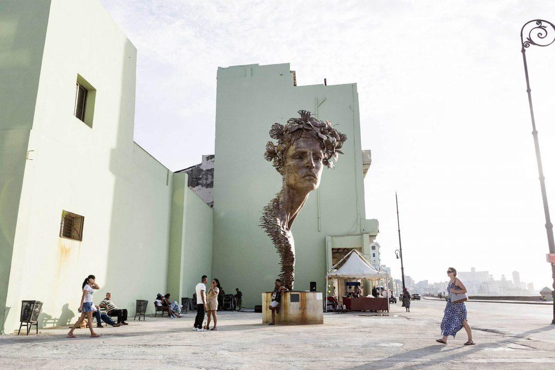 Antillen, Karibik, Cuba, Kuba, Republica de Cuba, Sozialismus, Nordwest Kuba, Havanna, Centro Habana, Kunstwerk am Malecon