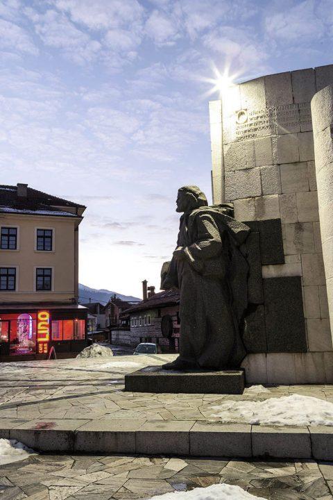 Bulgarien, Balkan, Bansko, Skigebiet, Pirin Gebirge, Otets Paisii Hilendarski Denkmal, Moench, der die Geschichte der Sklaven auf dem Berg Athos geschrieben hat,