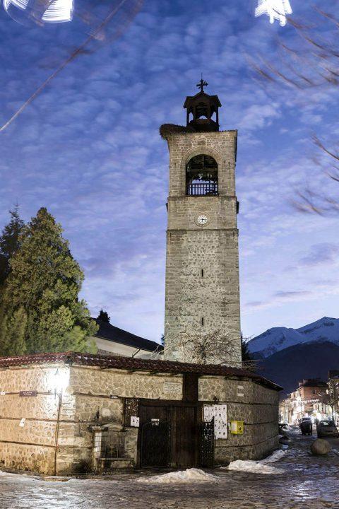 Bulgarien, Balkan, Bansko, Skigebiet, Pirin Gebierge, Dreifaltigkeits Kirche, SV. Troitsa, 1835 gebaut, 30m Glockenturm, Piri Str.