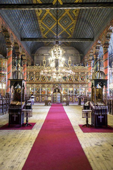 Bulgarien, Balkan, Bansko, Skigebiet, Pirin Gebierge, Dreifaltigkeits Kirche, SV. Troitsa, 1835 gebaut, 30m Glockenturm, Innenraum, Ikonen, Altar,