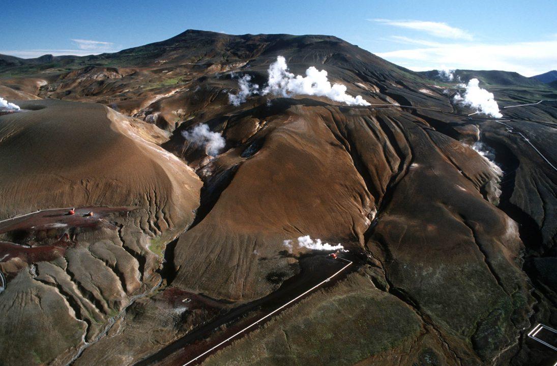 Europa, Island, Iceland, Nord Island, Reykjahlid, Myvatnsoraefi, Myvatn, Mueckensee, Rundflug, Lava, vulkanisch, Geo Thermal Kraftwerk Krafla, Dampf, heisse Quellen,