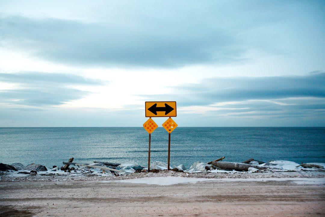 Alaska, Nome, Seaward Peninsula, Schild, Beringstrasse, Meer, Abend,