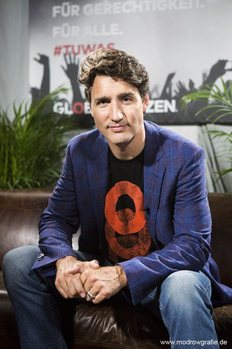 Germany, Hamburg, Barcley Card Arena, Volkspark, Concert, der kanadische Premierminister Justin Trudeau., Global Citizen Festival on 06.07.2017, the night before G20 Summit, in the Barclaycard Arena in Hamburg.  The festival is organized by the social action platform Global Citizen.