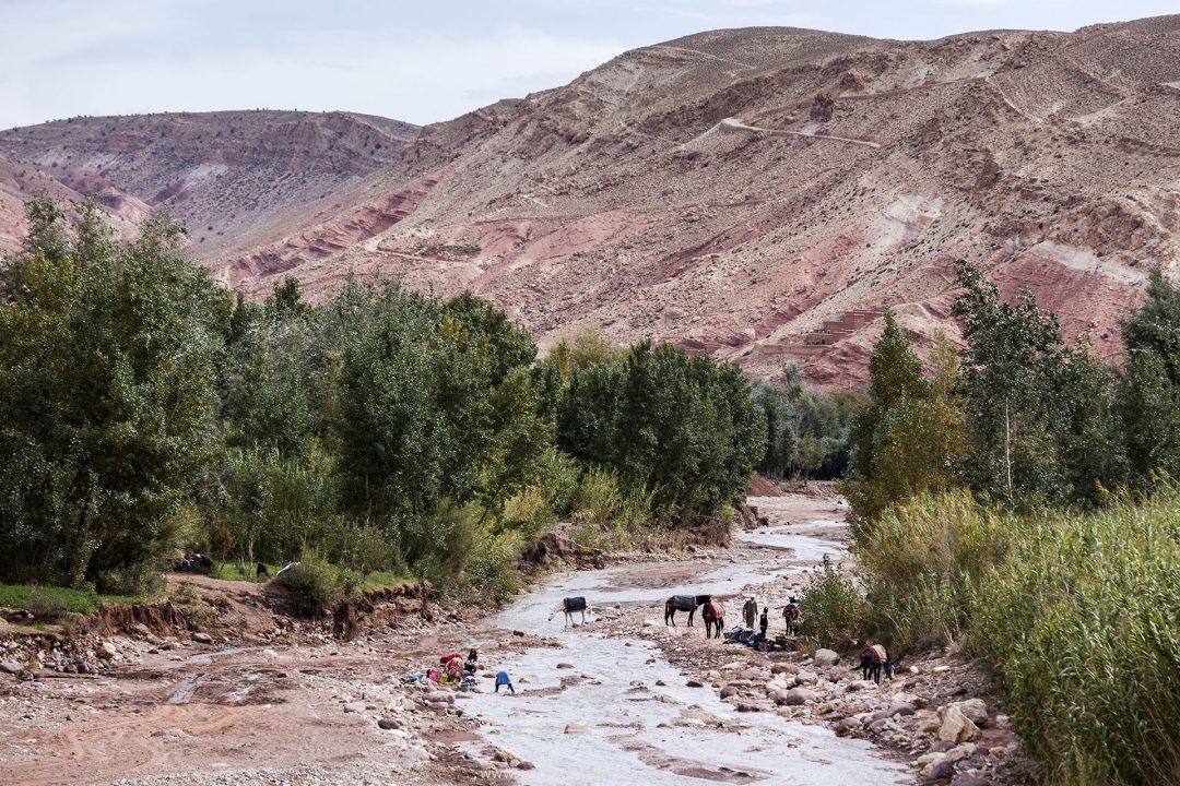Koenigreich Marokko, Kashbah,  noerdlich von Ait Benhaddou, Dorf, im Tal des Flusses, Oued Ounila, Schlucht,