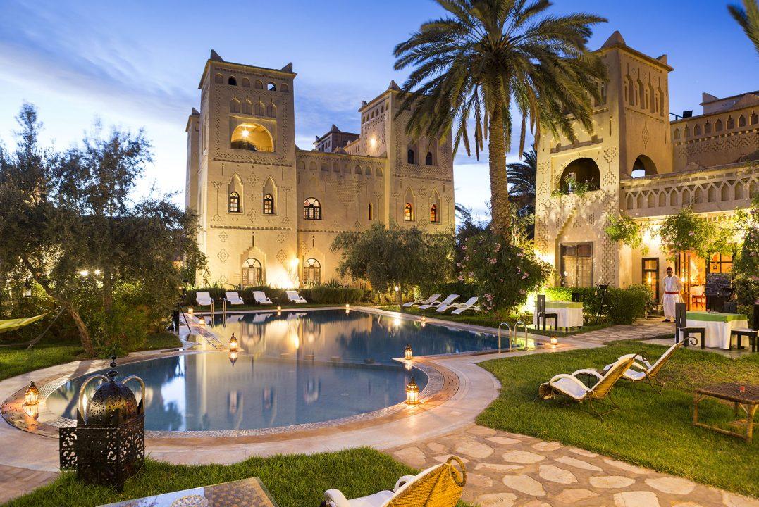 Koenigreich Marokko, Atlas Gebirge, Dades Valley, Skoura, Oase, Kashbah Hotel, Ksar Elkab Baba, Spa, Garten, Pool, chill out area,