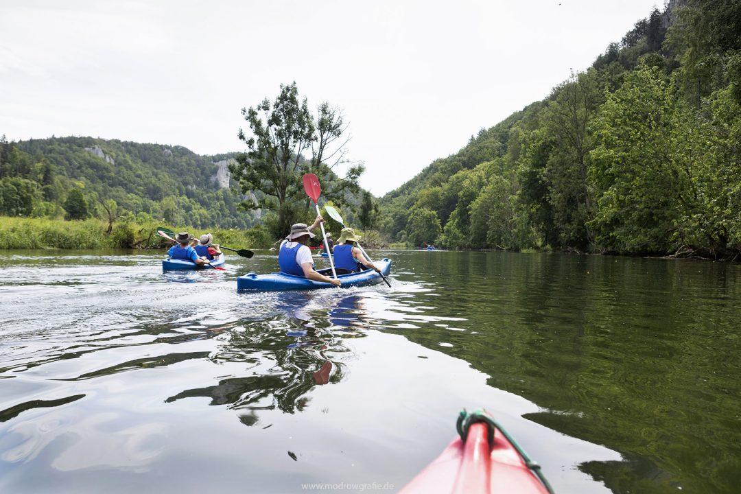 Europa, Deutschland, Donau, Baden-Wuerttemberg, bei Hausen, Kanu, Wasserwandern, 8.Naturpark Obere Donau, paddeln, Kanuten,